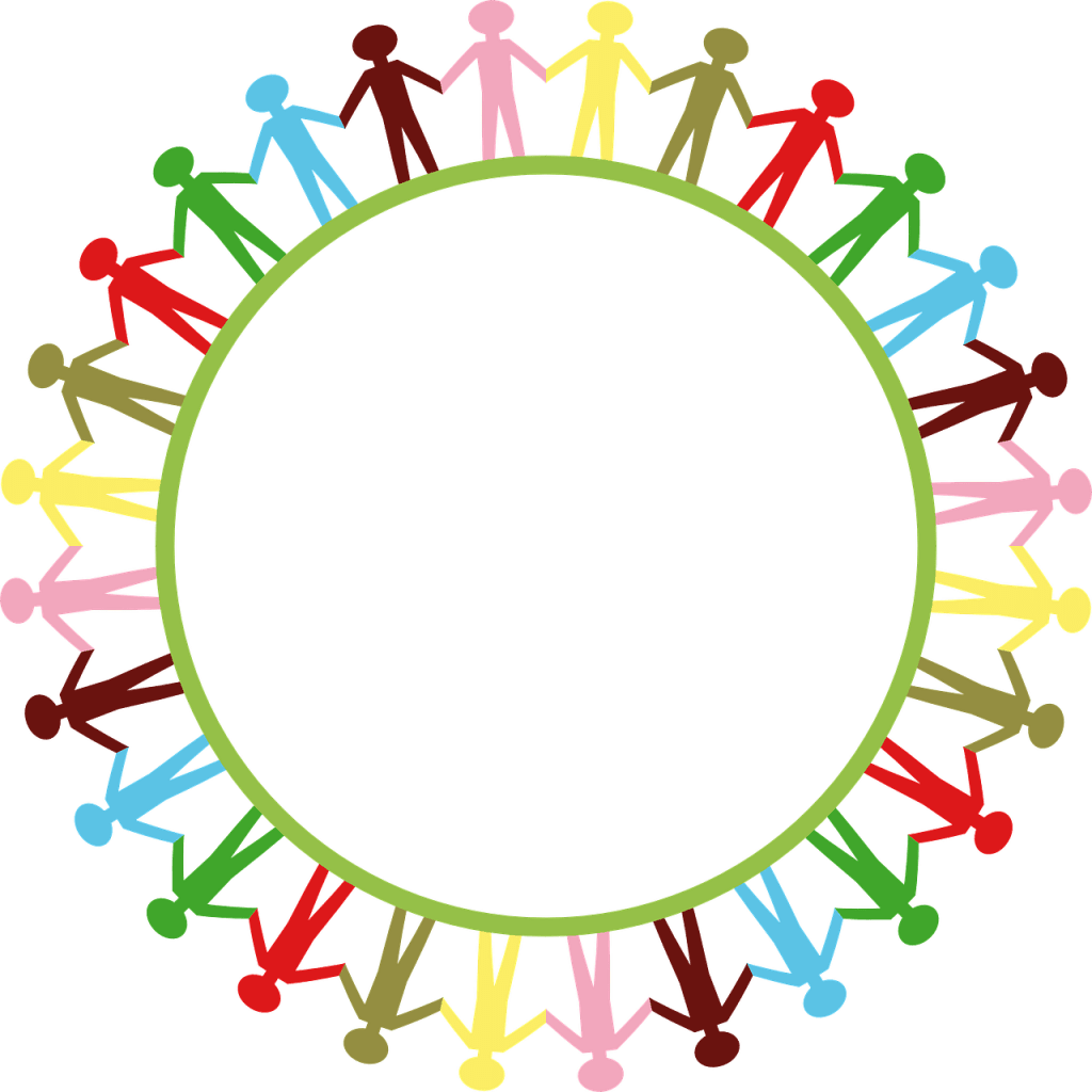 colourful image of stick people holding hands around a circle that represents the world